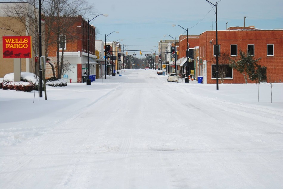 Look at Main Street all covered in Snow!