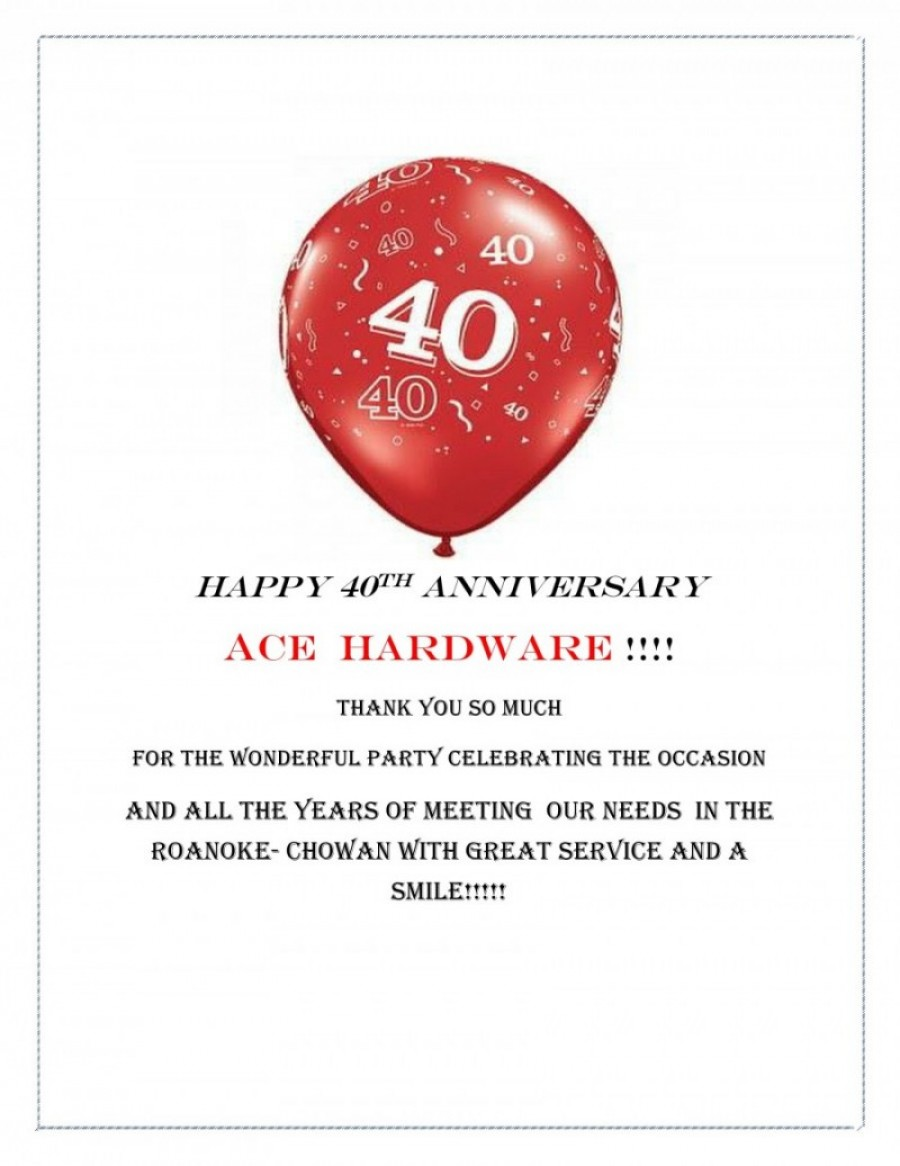 Ace Hardware- 40 years in Ahoskie!
