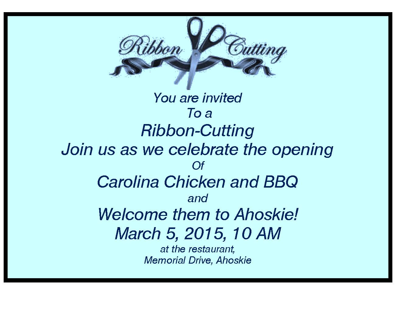 Carolina Chicken and BBQ Ribbon-Cutting